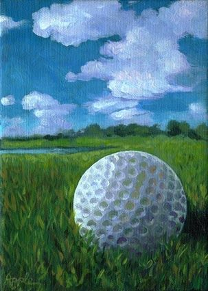 """""""Resting"""" - The Mighty Golf Ball -- Linda Apple (this is a nice little idea for small still life paintings of nrl scenes)"""