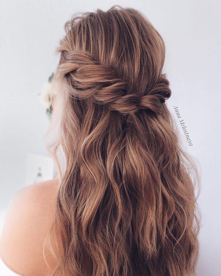 Bridal Hairstyles : Half up half down Wedding Hairstyle #bride #bridal #wedding #weddinghairstyles #...
