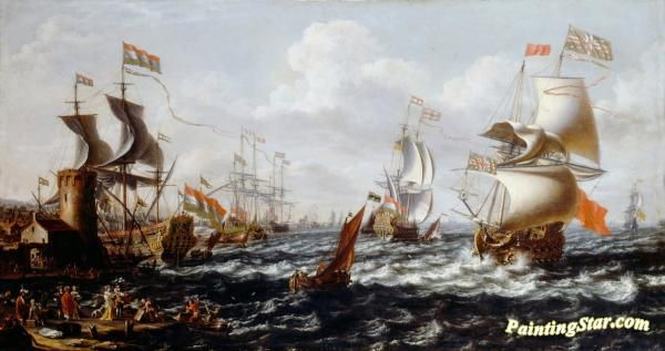 Ships in rough water off a mediterranean port Artwork by A Castro Lorenzo Hand-painted and Art Prints on canvas for sale,you can custom the size and frame