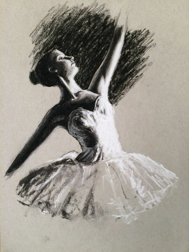 A ballerina study completed with black and white charcoal pencil for the Sketching on Coloured Ground course on ArtTutor.com