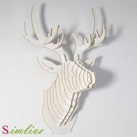 Kerstversiering, herten hoofd van diy houten ambachten voor home decoratie, wall decor woonkamer, nieuwtje, houtsnijwerk, dier
