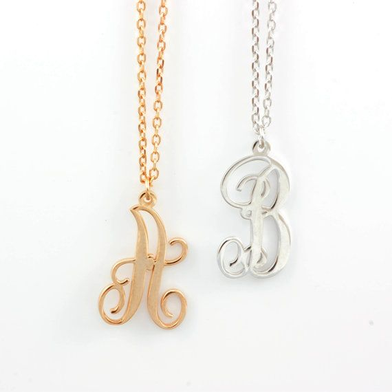 Single initial letter pendant personalized script by ulalajewels
