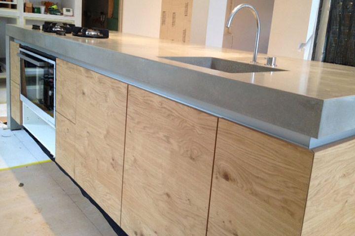 Concrete kitchen countertop island