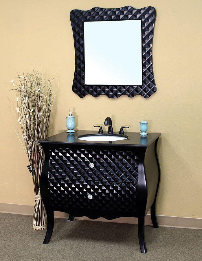 Bellaterra Home Modern Bathroom Vanity  Black Granite Countertop http   www listvanities. 17 Best ideas about Black Bathroom Vanities on Pinterest   Black