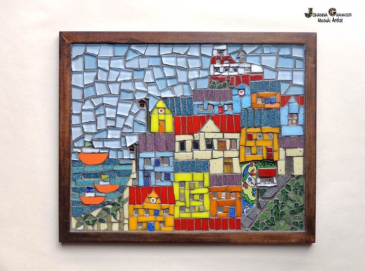 Mosaic Wall art - VALPO. This mosaic is inspired by my visit to Valparaiso - Chile. It is made with Venetian tiles, glass tiles, nails, paint, black grout on wood (MDF).#MosaicWallArt #Mosaic #JoGranadosMosaic #Valparaiso