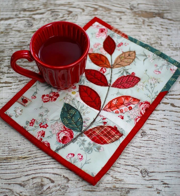 pretty mug mat by PatchworkPottery.