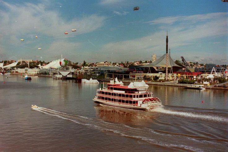 Kookaburra Queen II cruising past Southbank, Brisbane during World Expo 88.   #worldexpo88 #brisbane