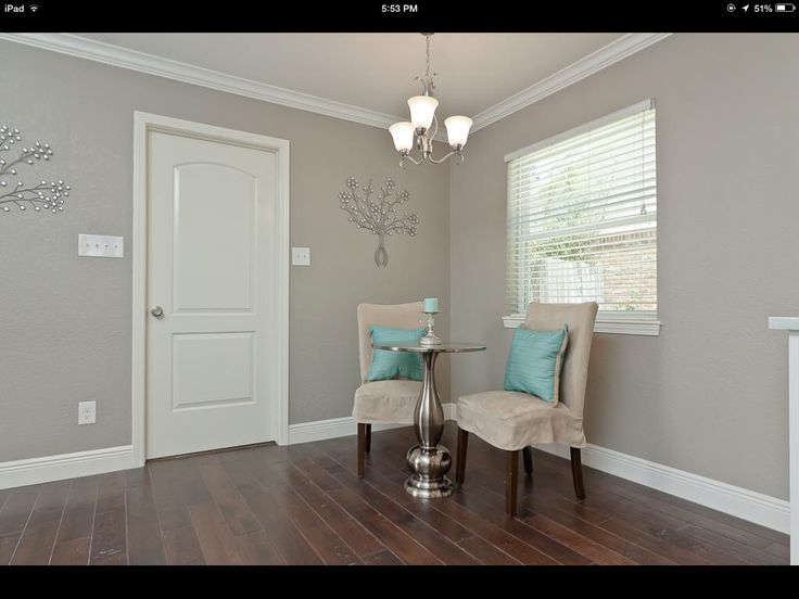 "Behr ""Perfect Taupe"" for the master? Love it with the pop of turquoise"