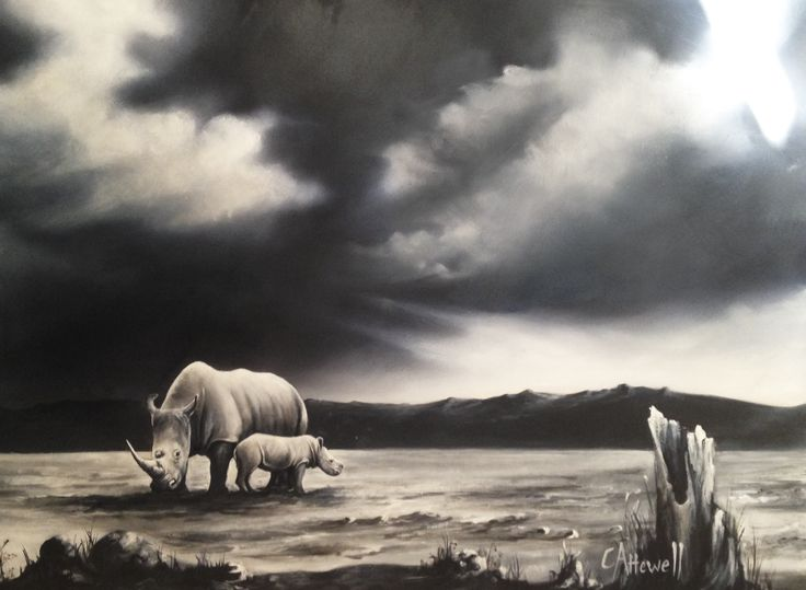 A menacing sky looms over a mother rhino and her calf in an exhausted landscape. This painting highlights the ominous future awaiting the rhino population.