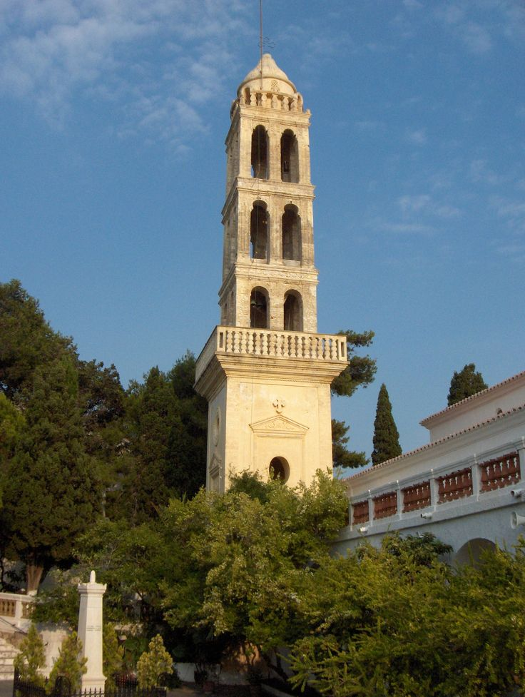 The bell tower at the Myrtidia Monastery, Kythera