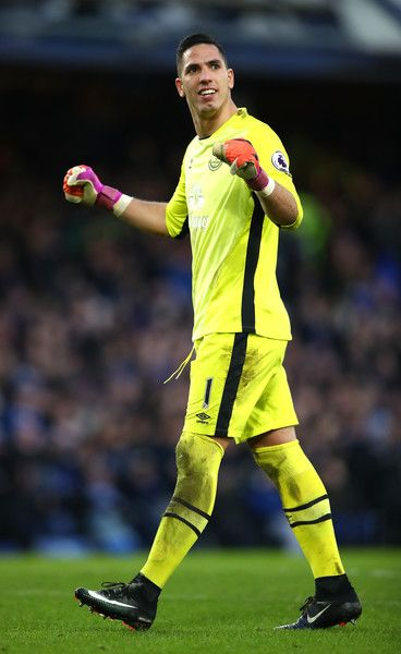 Joel Robles of Everton celbrates his side's fifth goal during the Premier League match between Everton and AFC Bournemouth at Goodison Park on February 4, 2017 in Liverpool, England.