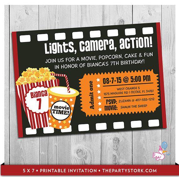 Invitación fiesta de película Para imprimir por ThePartyStork
