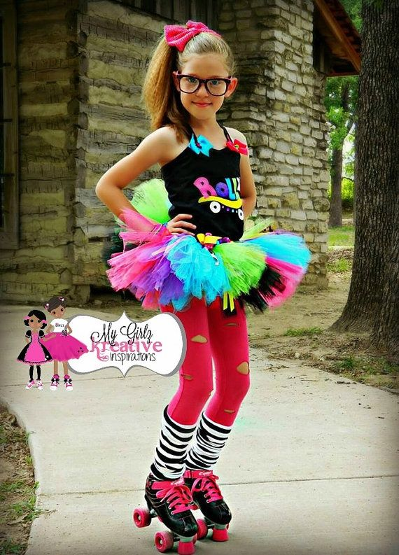Rock and Roller Skate - Retro 80s Baby Neon Rainbow Tutu Skirt and Shirt Birthday Party Outfit Pop Star Rock Star ) 12mos-5T