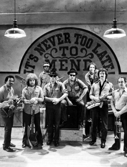 "The Blues Brothers Band:  L—R:  Matt ""Guitar"" Murphy Jr., Donald ""Duck"" Dunn, Willie ""Too Big"" Hall, Dan Aykroyd, John Belushi, Murphy Dunn, Tom ""Bones"" Malone, Alan ""Mr. Fabulous"" Rubin.  Not pictured: ""Blue"" Lou Marini, Steve ""The Colonel"" Cropper."