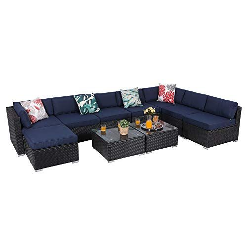 Phi Villa 10 Piece Outdoor Furniture Set Rattan Patio Sectional Sofa With Tea Table And Ottoman Blue Phi Villa Outdoor Furn Outdoor Patio Furniture In 2019