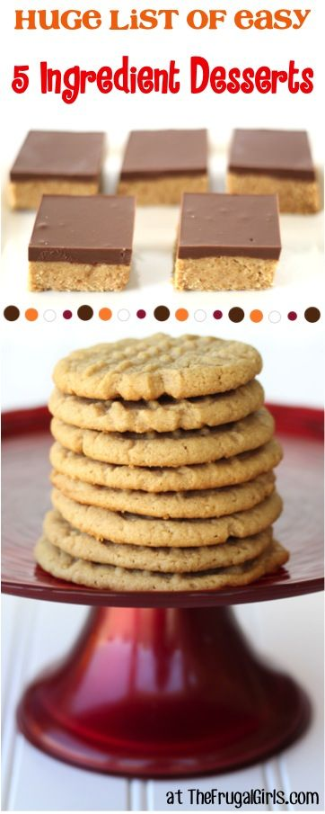 5 Ingredient or Less Desserts Recipes! ~ from https://TheFrugalGirls.com - youll love this HUGE list of easy and delicious dessert recipes! #thefrugalgirls