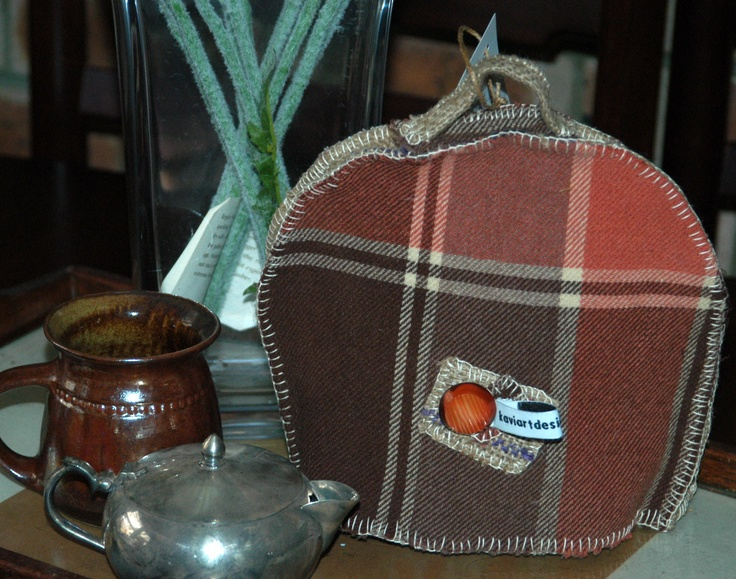 1960's blanket tea cosy suitable for 2-4 cup pot, or stacking pot and cup...  Trim includes rice hessian sacking and vintage button