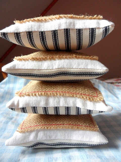 Pincushions from ticking, hessian and vintage linen made by Gillyflower 2011
