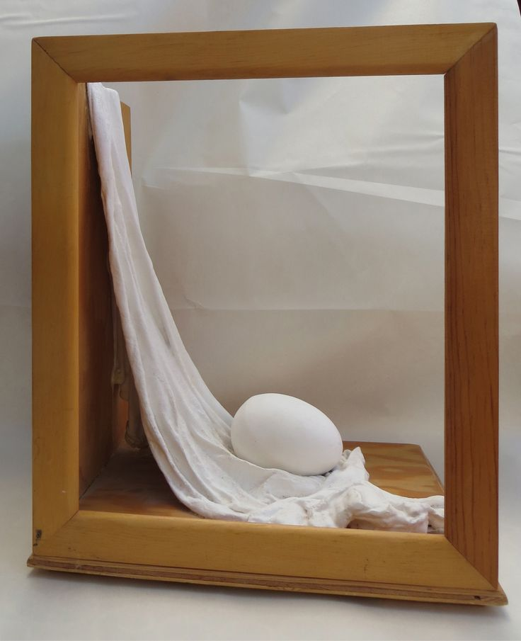 Open Sided Egg Box.  Wood, and plaster box sculpture by L. Krahn Muenster