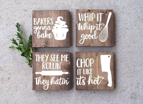 Signs That Are Dark Walnut Black And Gray Will Come With White Lettering White Signs Will Funny Kitchen Signs Kitchen Decor Signs Rustic Kitchen Wall Decor