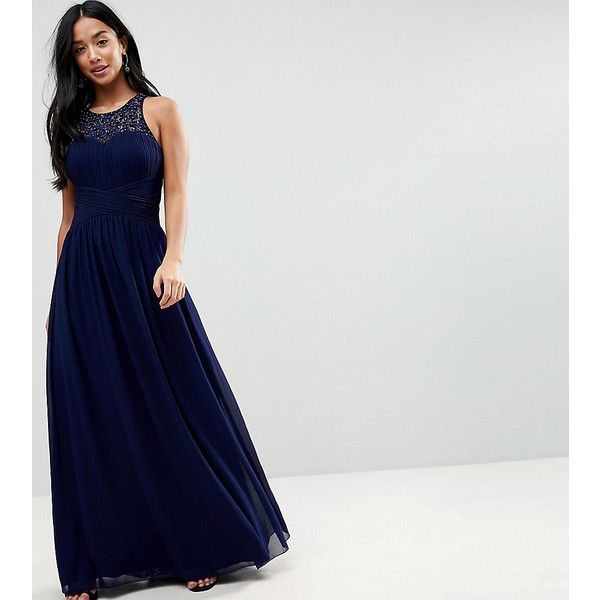 Little Mistress Petite Maxi Dress With Embellishment ($125) ❤ liked on Polyvore featuring dresses, navy, petite, prom dresses, beaded prom dresses, navy prom dresses, navy blue prom dresses and navy blue cocktail dress