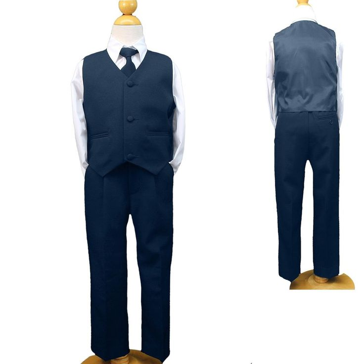 Pants- It has elastic with hidden fly zipper for size 4-20 and elastic only for size S M L XL and 2T to 4T. Vest- 3 Button Vest. BOY NAVY BLUE VEST SET. New arrival! 7 piece white suit. 1 Adjustable neck tie. | eBay!