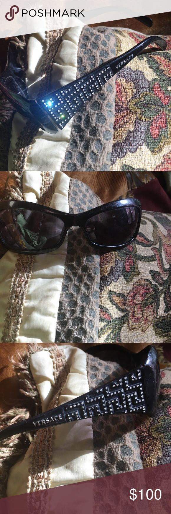 Versace designer rhinestone sunglasses! This is Glam at its finest adorning this lustrous sunglasses!! Made in Italy !!Walking down any street or beach and you'll be noticed for the gorgeous gal you are!! Versace Other
