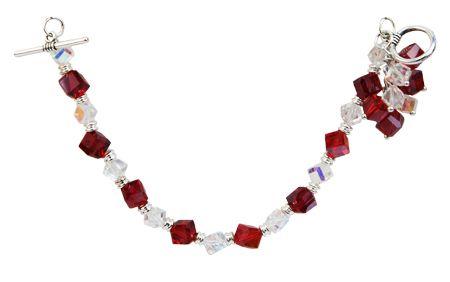 Pulsera rojo con plata / Joyería / Moda femenina / Accesorios para mujer / Día de las madres / 10 de mayo / Regalo para mamá