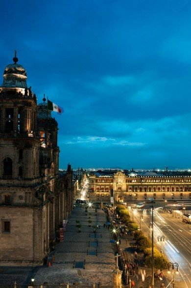 The Zócalo, Mexico City's main square after sunset.