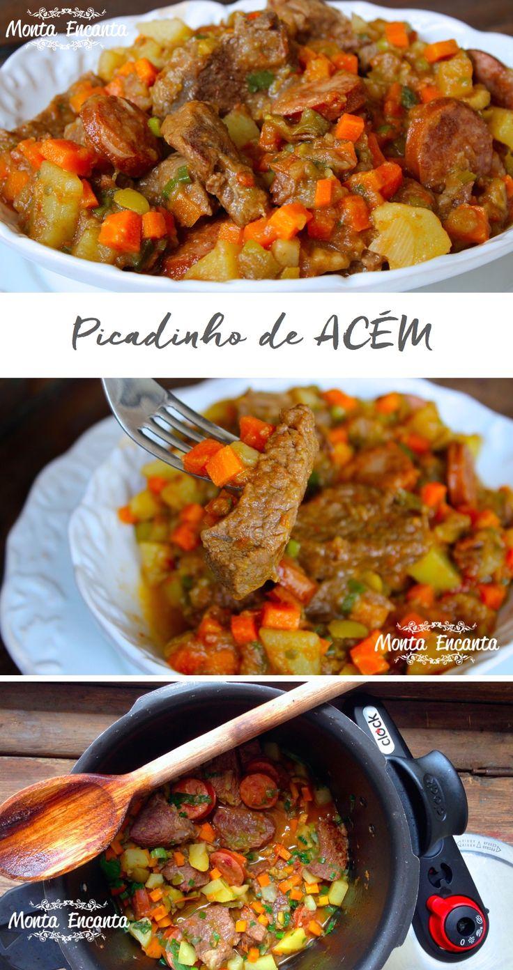 Picadinho de Acém, carne macia, suculenta c/ batatatinha e cenoura em cubinhos que desmancham na boca. Servido, ao lado de um arroz branco e bem soltinho