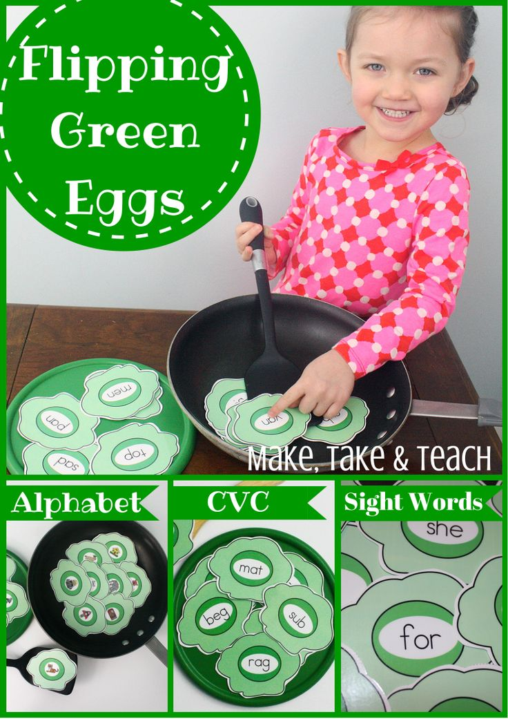 Flipping green eggs! Fun way of practicing beginning sounds, CVC words and sight words.