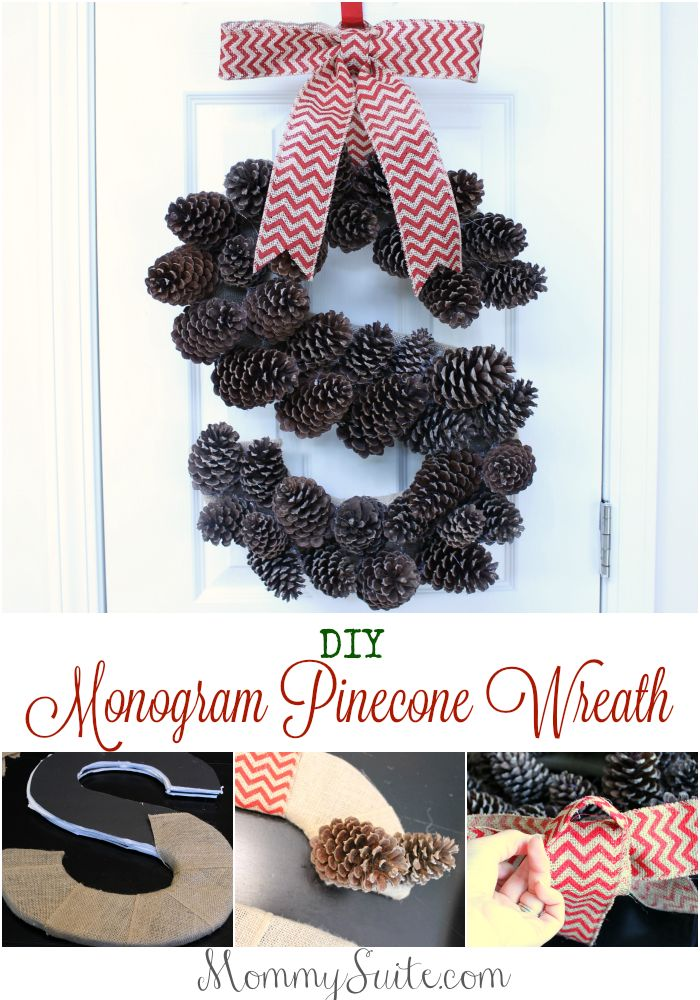 I love this DIY Monogram Pinecone Wreath for fall and winter!