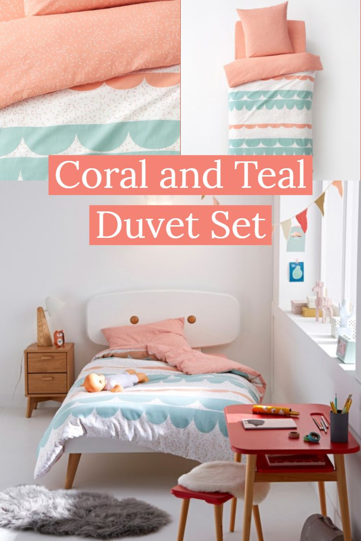Coral And Teal Duvet Set In Multiple Sizes Get The Pastel Decor Look With This Pretty Set Perfec Toddler Girl Room Summer Bedroom Decor Girl Room Inspiration