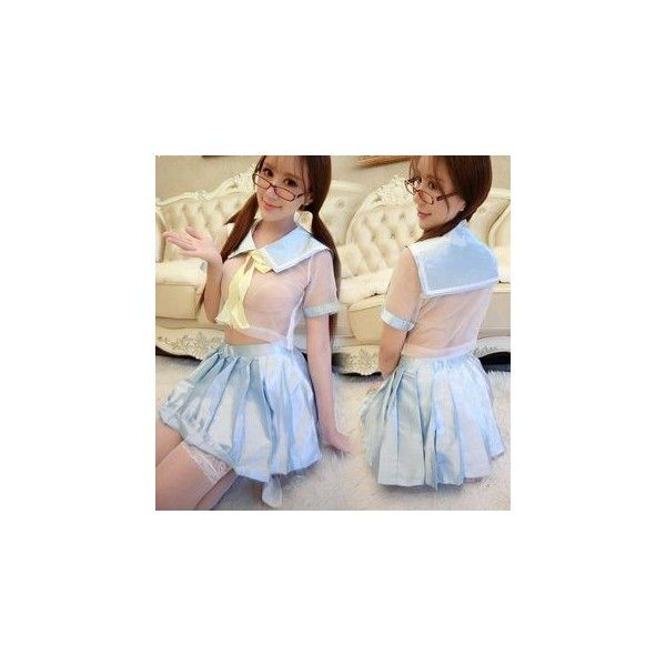 School Girl Lingerie Costume ($19) ❤ liked on Polyvore featuring costumes, innerwear, women, lady halloween costumes, ladies costumes, schoolgirl costume, womens costumes and womens school girl costume