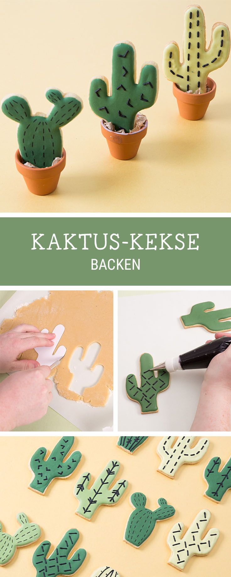 Süße Kaktus-Kekse backen, Partyrezepte / sweet recipe for cute cookies in shape of cacti, party food via DaWanda.com