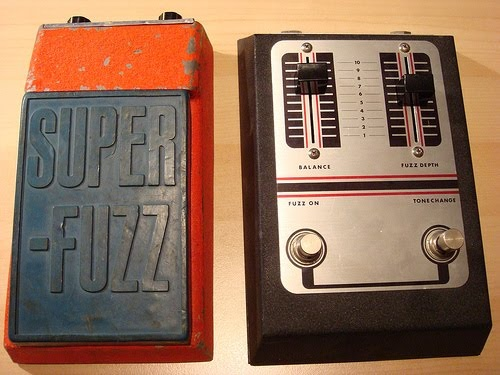Univox Super Fuzz, used by Mark Arm of Mudhoney. On the right is the Ibanez Standard Fuzz.