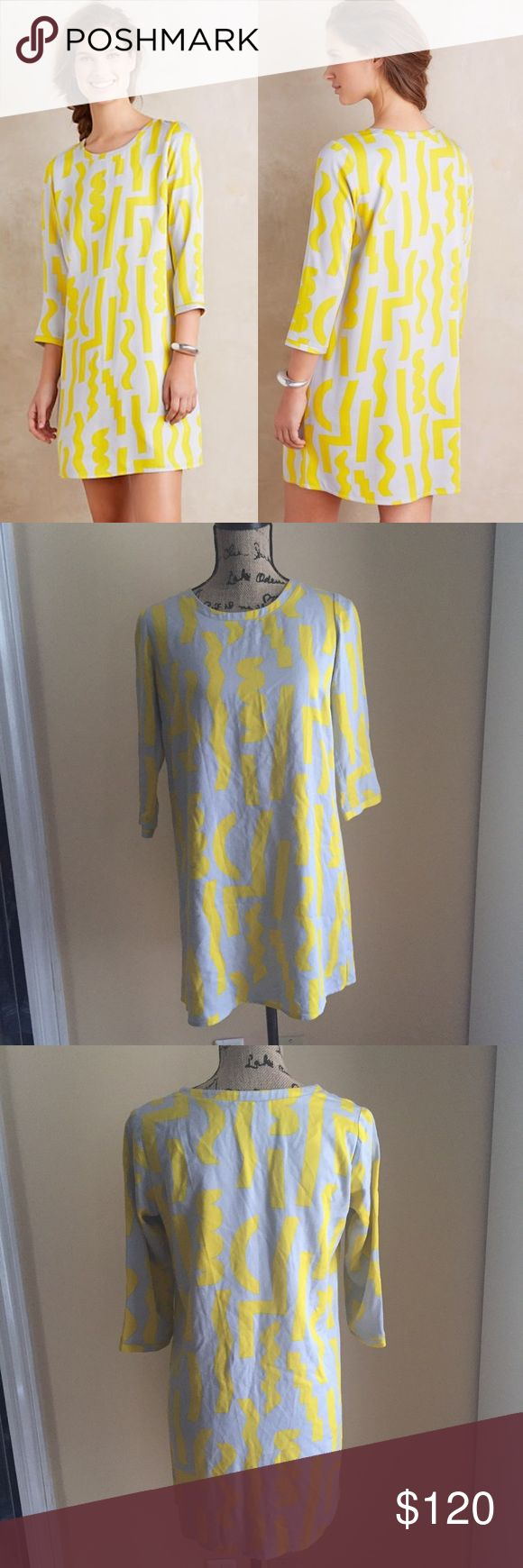 Duane Dusen Yellow Sunbent Shift Dress Dusen Dusen X Anthropologie Yellow Sunbent Shift Dress - NWOT - Size XXS - A Clean-cut shift complete with a zingy graphic pattern. Made in the USA by Brooklyn-based label Dusen Dusen.  Two small marks as seen in photos.   Rayon Shift silhouette 3/4 sleeves Pullover styling Dry clean USA Anthropologie Dresses Mini