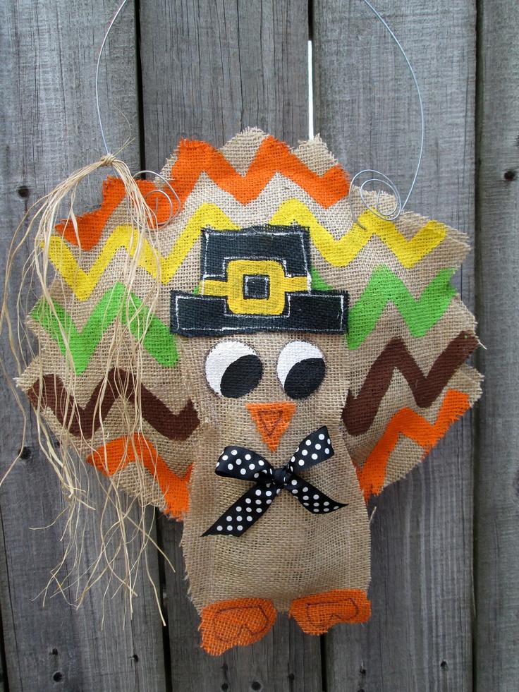 Thanksgiving Turkey Burlap Door Hanger Door Decoration Chevron Pattern.  $28.00, Via Etsy.