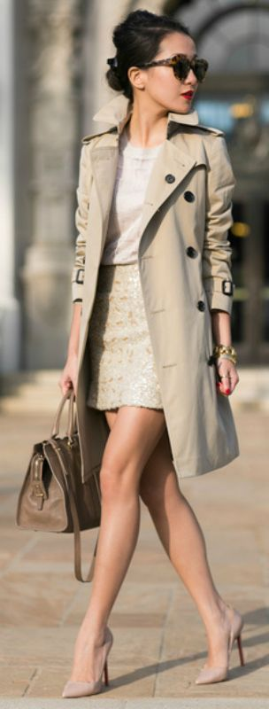 Classic Burberry trech + ultra chic + nude pink heels + matching nude top + skirt + look neutral + Wendy Nguyen + gorgeously minimalistic style  Top: J. Brand, Trench: Burberry, Skirt: Banana Republic, Bag: Yves Saint Laurent, Shoes: Christian Louboutin.