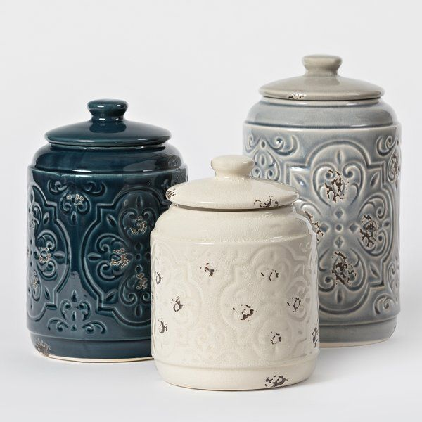 Rustic Quilted 3 Piece Kitchen Canister Set Kitchen Canister