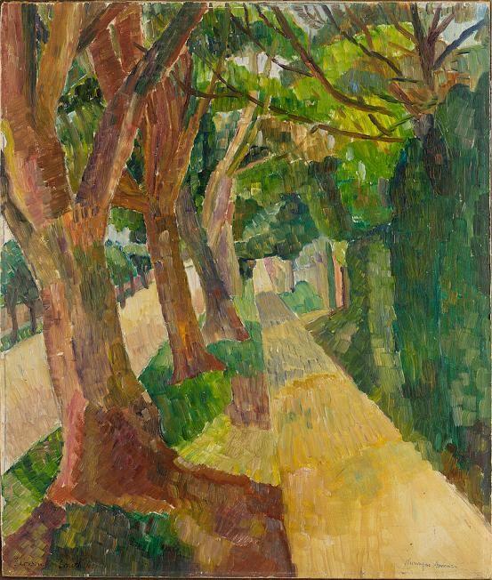 "herzogtum-sachsen-weissenfels: ""Grace Cossington Smith (Australian, 1892-1984), Kuringai Avenue, 1943. Oil on board, 49.5 x 42 cm. """