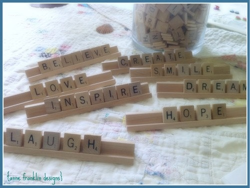 tray chic :: custom word art with scrabble tiles on wooden tray.