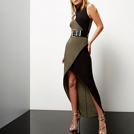 Khaki colour block asymmetric maxi dress €35.00
