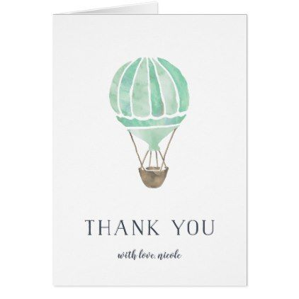 Mint Hot Air Balloon Personalized Thank You Card - watercolor gifts style unique ideas diy