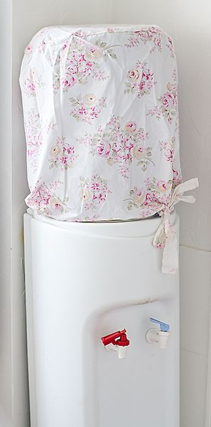 Water Cooler Jug Slip Cover-Shabby chic water bottle cover, floral fabric slip covers, vintage rose http://www.vintagerosecollection.com/