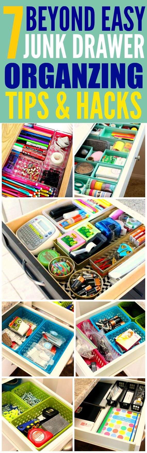 These 7 junk drawer organizing tips and hacks are THE BEST! I'm so glad I found these AWESOME tips! Now I have some ways to clean up the mess in my drawers! Definitely pinning for later!