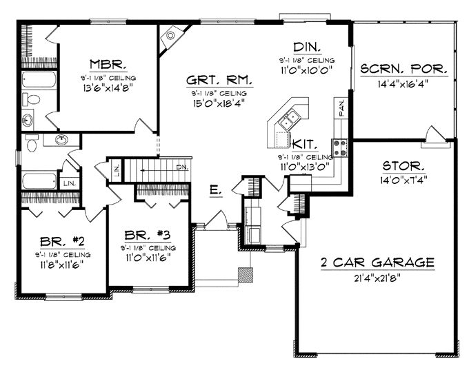 Floor plans aflfpw76173 1 story craftsman home with 3 3 bedroom open floor plan