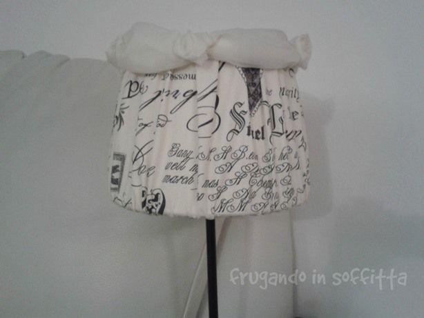 lampada in stile shabby in tessuto