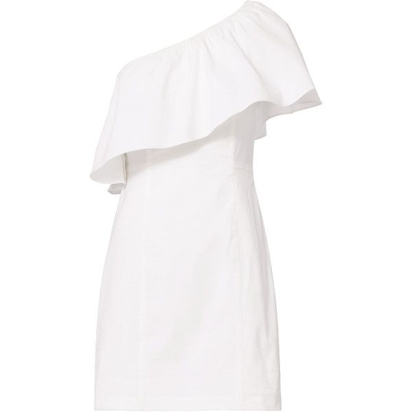 Evan One Shoulder Dress ($199) ❤ liked on Polyvore featuring dresses, vestidos, white, frilly dresses, white ruffle dress, frill dress, one-sleeve dress and one shoulder ruffle dress