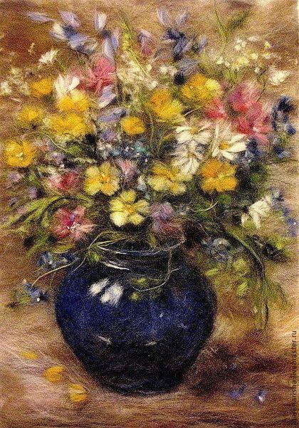 "Картина из шерсти ""Полевые цветы"". Handmade. #wool #woolart"